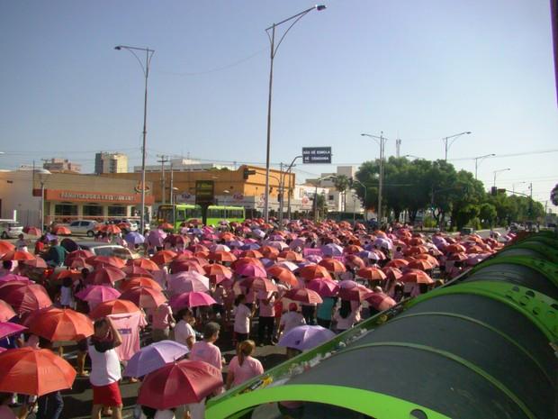 Avenida Frei Serafim foi tomada pela cor (Foto: Gilcilene Araújo/G1)
