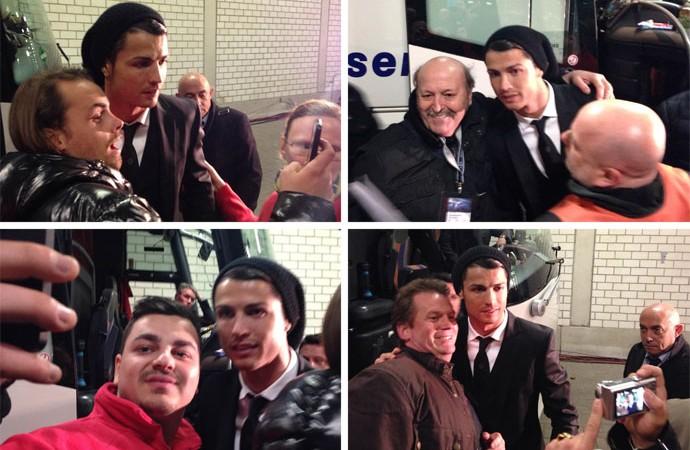 Montagem - Cristiano Ronaldo posa com torcedores (Foto: Editoria de Arte)