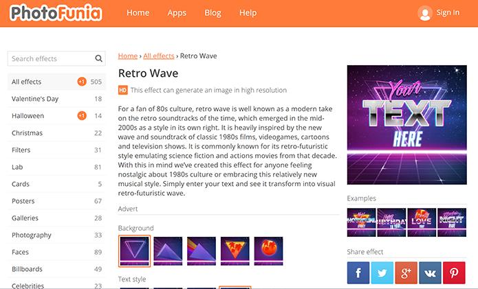 Retrowave Text Generator pode criar montagens ao estilo anos 80 (Foto: Reprodução/Elson de Souza)