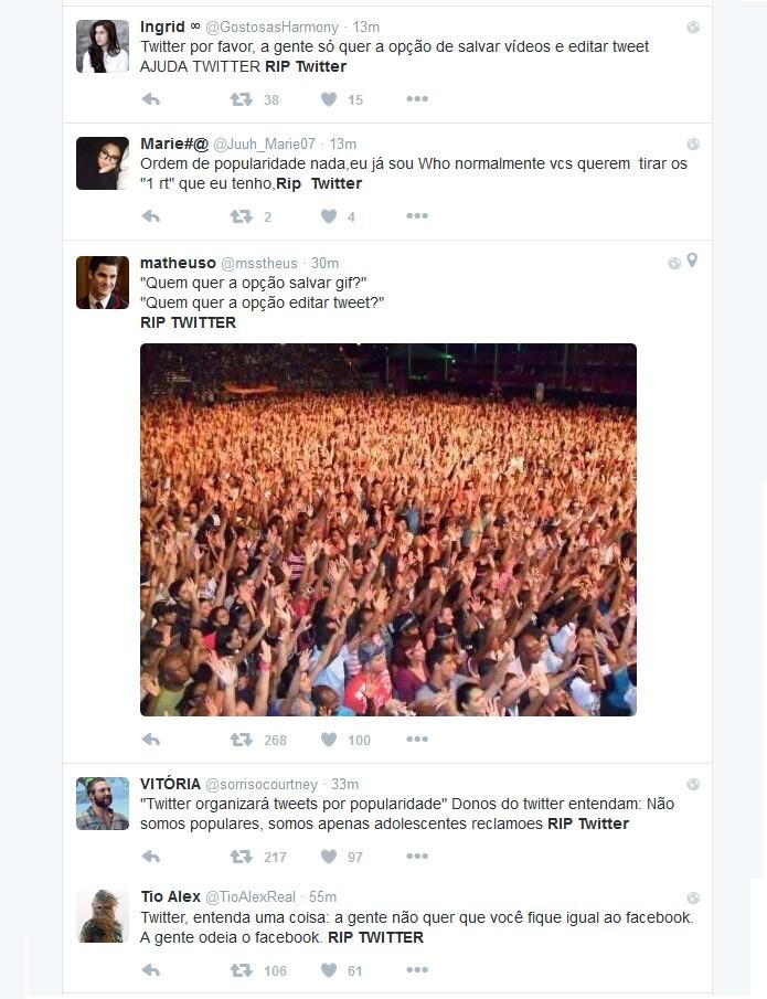 No próprio Twitter, usuários decretam a morte do microblog (Foto: Reprodução)