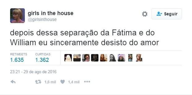 Separação de William Bonner e Fátima Bernardes causa surpresa nos fãs (Foto: Reprodução / Twitter)