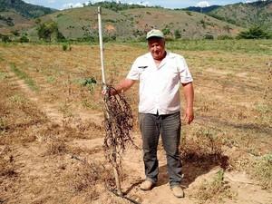 Carlos Alberto Rudio perdeu a plantação em Itapina, no Espírito Santo (Foto: Heriklis Douglas/ A Gazeta)