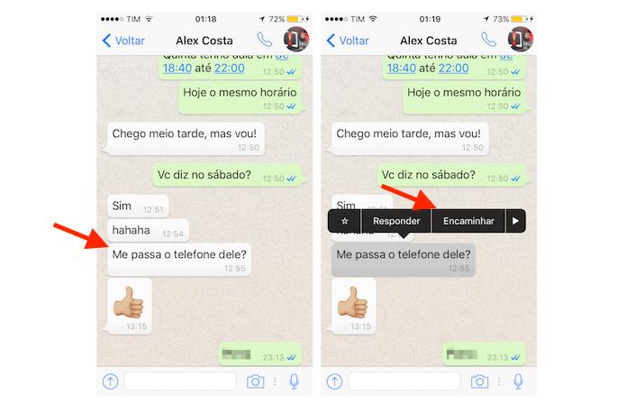 8ad94d40fb5 Função para encaminhamento de mensagens do WhatsApp para iPhone (Foto:  Reprodução/Marvin Costa