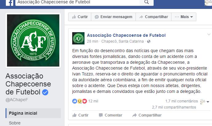 Chapecoense Facebook (Foto: Facebook)