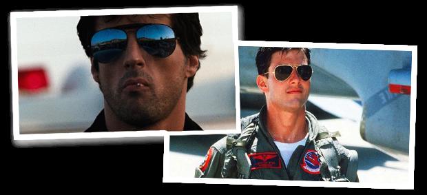 'Cobra', com Sylvester Stallone, e 'Top Gun', com Tom Cruise (Foto:  Reprodução)