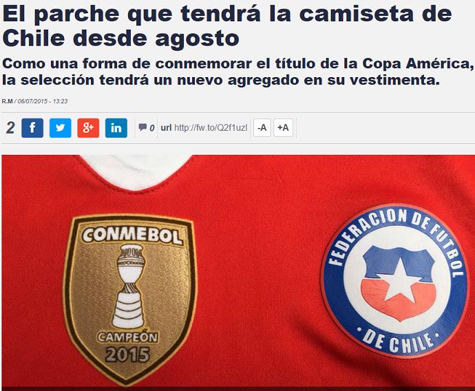 Emblema Chile Copa América jornal La Tercera