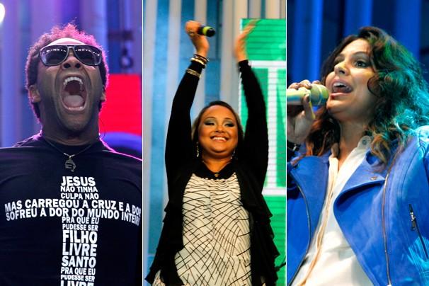Thalles, Bruna Karla e Aline Barros durante os shows que aconteceram no dia 30 de novembro, em Brasília (Foto: Jane Franco/Globo)