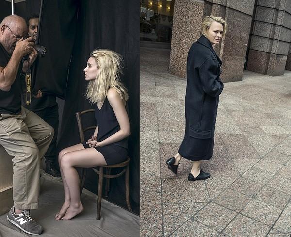 Peter clica Rooney Mara; Robin Wright posa para o fotógrafo na Times Square, em Nova York (Foto: Divulgação/ Pirelli)