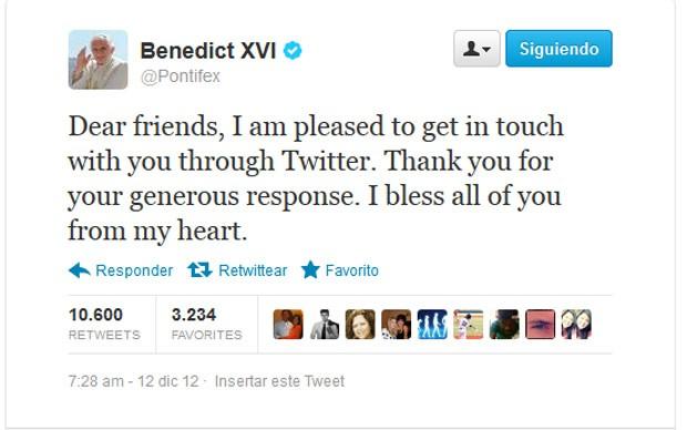 Papa Bento XVI publica seu primeiro tuíte (Foto: Reprodução)