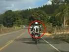 Vídeo mostra cachorro em garupa de moto sem proteção na ES-137