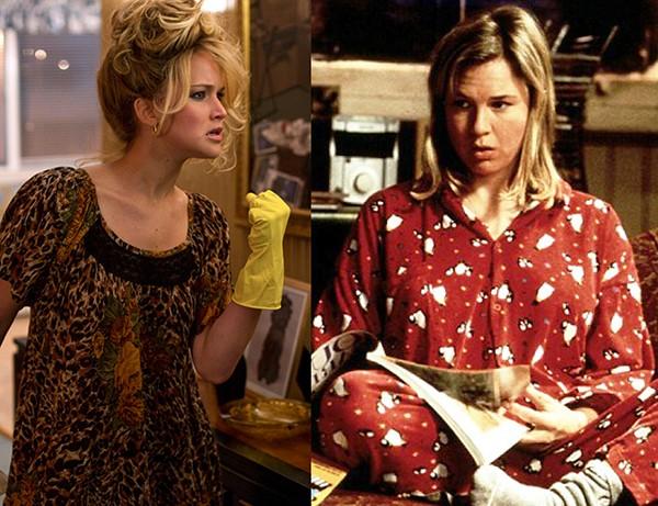 Jennifer Lawrence em 'Trapaça' (2013) e Renée Zellweger como Bridget em 'O Diário de Bridget Jones' (2001) (Foto: Divulgação)
