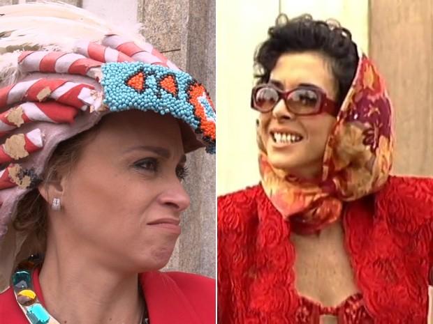 Suzana Pires (2014 - Ato Falho) e Betty Faria (1989 - Tieta) como a mesma personagem  (Foto: Ato Falho / TV Globo)