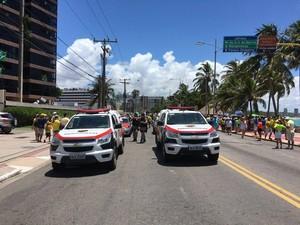 Manifestação em Maceió conta com efetivo de 350 militares da PM para fazer a segurança (Foto: João Neto/G1)
