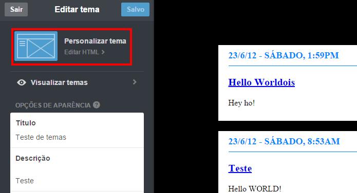 Edição de HTML permite customizar aparência do blog (Foto: Reprodução/Tumblr)