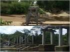 Após 9 meses, ponte que cedeu com caminhão em RR continua quebrada