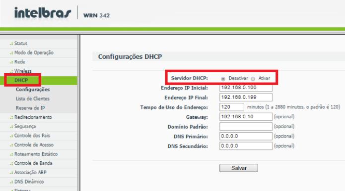 Menu DHCP