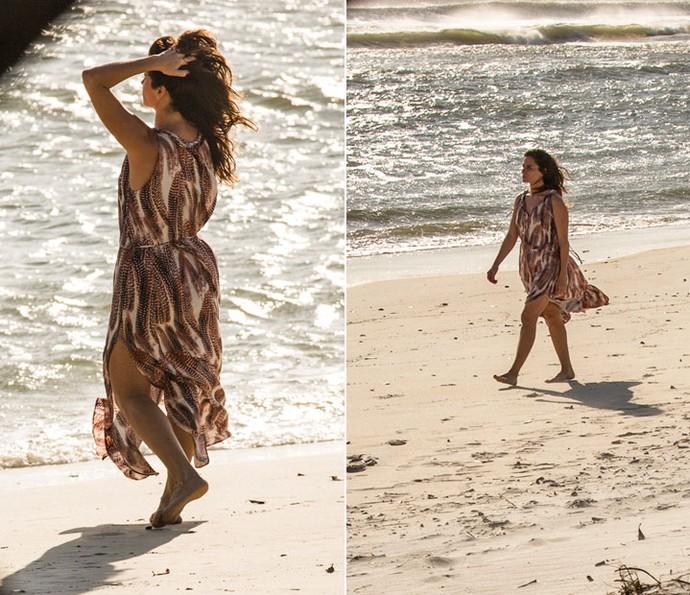 Alice sempre viveu na praia, e agora seu figurino está combinando mais com o cenário principal de Arraial de Sol Nascente (Foto: Ellen Soares/Gshow)