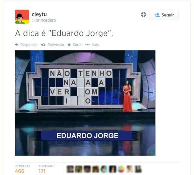 Palco do programa Roletrando, que no Brasil foi apresentado por Silvio Santos no SBT, também foi resgatado pelos usuários do Twitter (Foto: Reprodução/Twitter/brincadero)