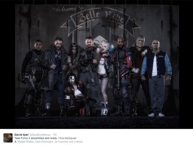 Diretor de 'Esquadrão suicida' divulga foto do elenco caracterizado (Foto: Reprodução/Twitter)
