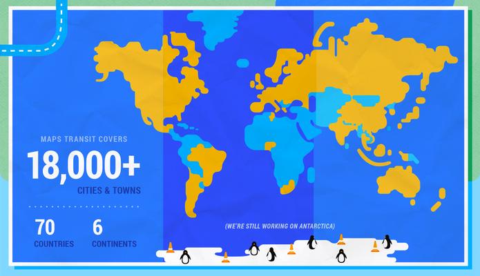 Em amarelo, áreas cobertas pelo Google Transit no mundo todo (Foto: Reprodução/Google)