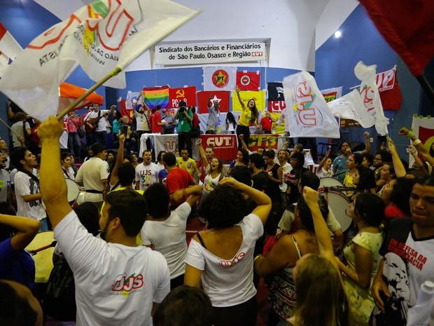 Plenária de apoio ao ex-presidente da República, Luís Inácio Lula da Silva, na quadra do Sindicato dos Bancários, em São Paulo  (Foto: Suamy Beudoyn/Futura Press/Estadão Conteúdo)