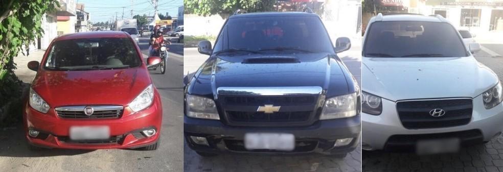 Carros apreendidos com trio suspeito de fraudar R$ 1,5 milhão, estão avaliados em R$ 200 mil (Foto: Reprodução/Polícia Civil)