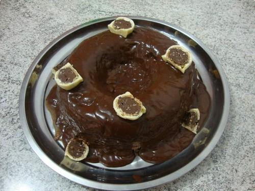 Pudim de Trufas com calda de Chocolate