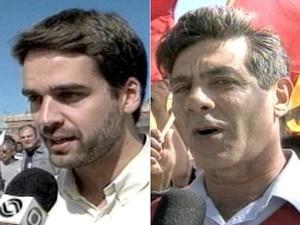Eduardo Leite (PSDB) e Fernando Marroni (PT) (Foto:  Montagem/Reprodução RBS TV)