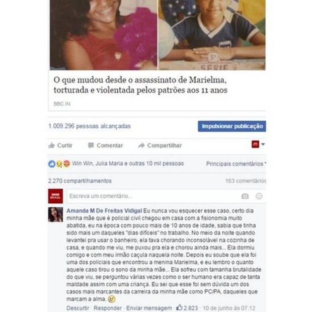 O comentário de Aline, filha da policial civil Marielene, no Facebook da BBC Brasil  (Foto: Reprodução/ BBC)