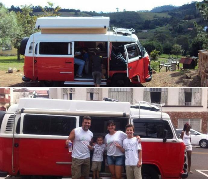 Na foto de cima, eles passeando em Pedra bela, São Paulo, e, na de baixo, em Águas de Lindóia, SP (Foto: Arquivo pessoal)