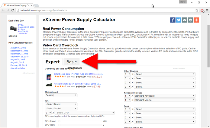 Clique na aba Basic do site que calcula a potência da fonte (Foto: Felipe Alencar/TechTudo)