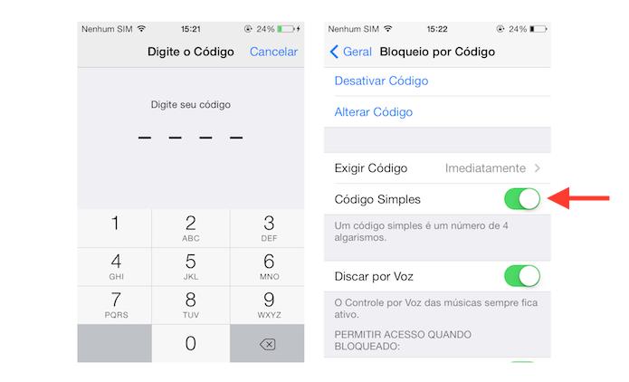 Desativando o código de bloqueio de quatro dígitos do iOS (Foto: Reprodução/Marvin Costa)