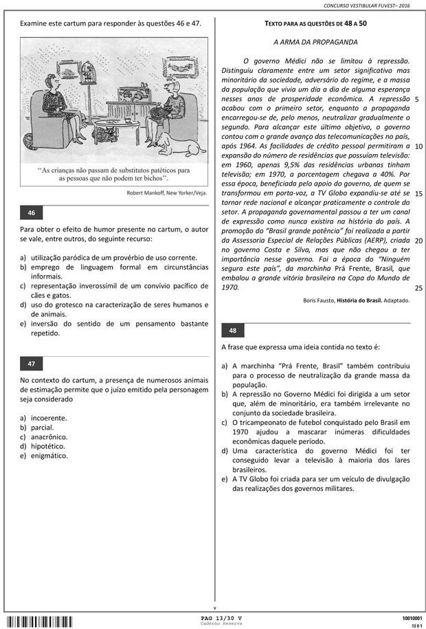 Fuvest - Caderno de Prova - 13 (Foto: Reprodução/Fuvest)