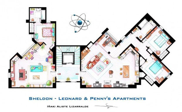 Os apartamentos de Sheldon &amp;amp; Leonard e Penny, da s&#233;rie Big Bang Theory (Foto: Nikneuk)