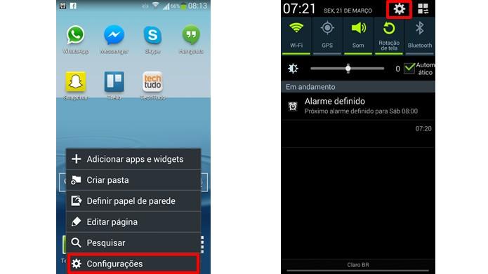 Vá até o menu de configurações do Android (Foto: Reprodução/Daniel Ribeiro)