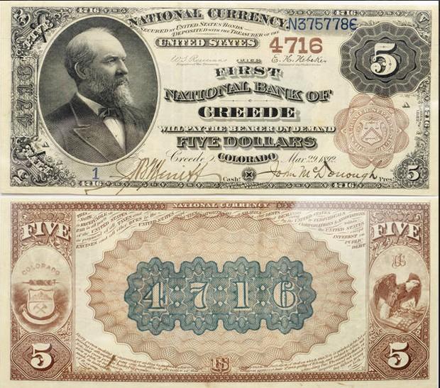 Nota de US$ 5 da cidade de Creed, no estad do Colorado  (Foto: Divulgação)