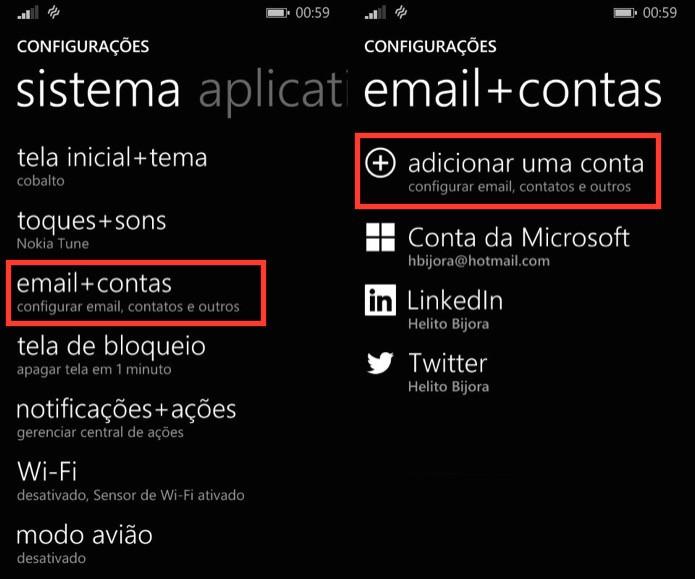Adicionando conta ao Windows Phone (Foto: Reprodução/Helito Bijora)