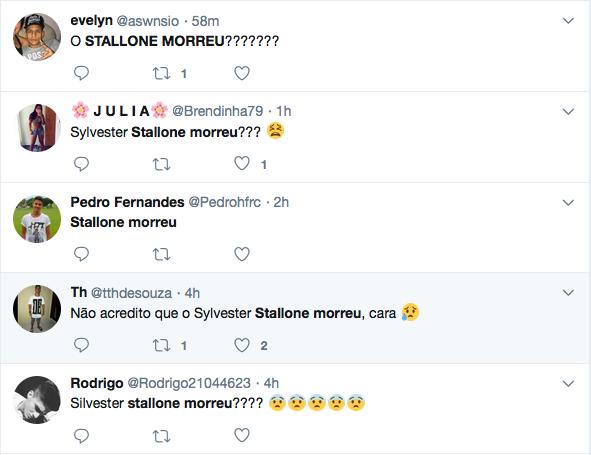 Fãs brasileiros lamentando a morte de Sylvester Stallone (Foto: Twitter)