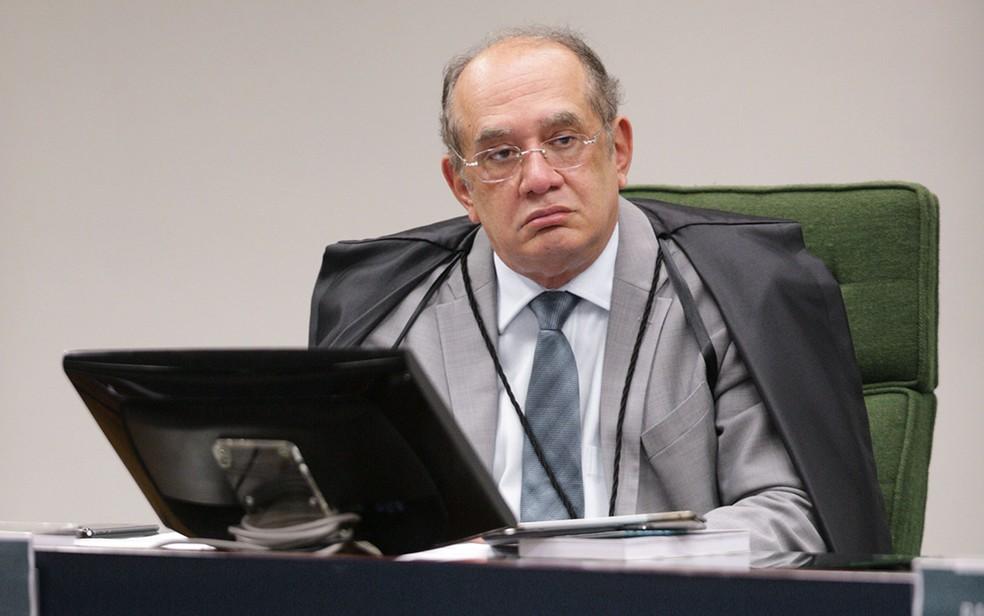 Ministro Gilmar Mendes durante audiência no STF nesta sexta no STF (Foto: Nelson Jr/SCO/STF)