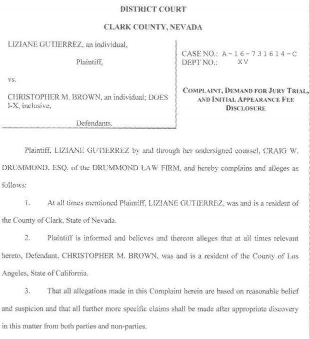 Processo  de Liziane Gutierrez contra Chris Brown (Foto: Reprodução / Processo oficial)