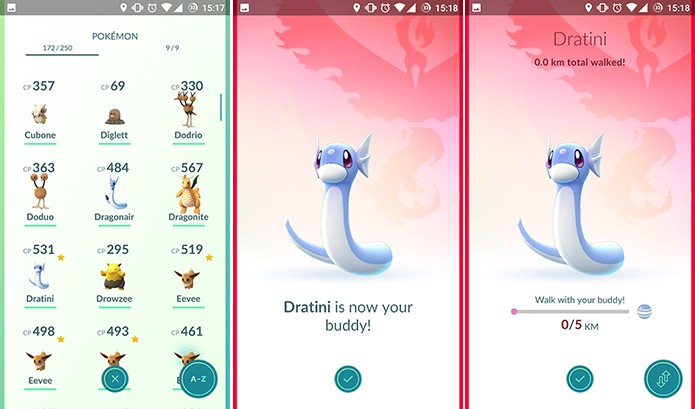 Pokemon Buddy será exibido com barra de progresso com quilômetros percorridos (Foto: Reprodução/Elson de Souza)