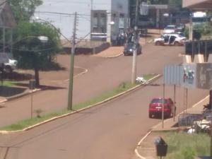 Morador flagrou momento do assalto a bancos em Miraguaí (Foto: Arquivo Pessoal)