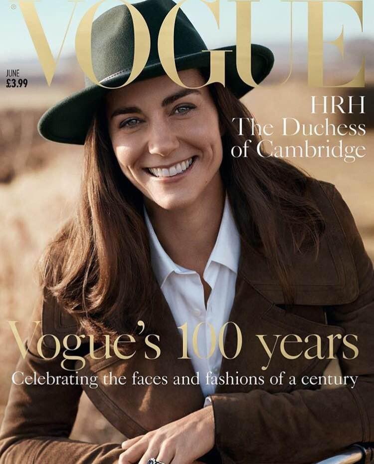 Edição histórica dos 100 anos da Vogue britânica teve Kate Middleton na capa (Foto: Reprodução)