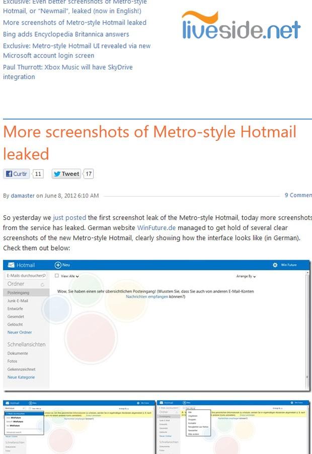 Imagens do 'Newmail', que seria o novo nome e visual do Hotmail, foram publicadas por site 'Liveside.com' (Foto: Reprodução)