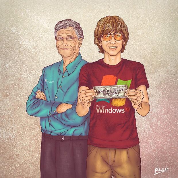 Bill Gates adulto, com camisa do Xbox, aparece ao lado de sua versão jovem, que usa camiseta do Windows XP, em série do colombiano Fulaleo (Foto: Behance/Fulaleo)