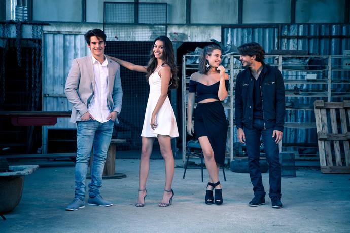 Durante o ensaio, os quatro atores mostraram que têm muita sintonia (Foto: Fabiano Battaglin/Gshow)