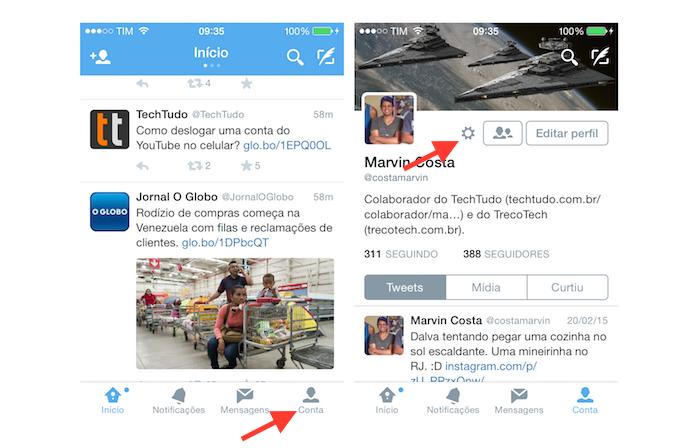 Acessando as configurações do aplicativo Twitter no iPhone (Foto: Reprodução/Marvin Costa)
