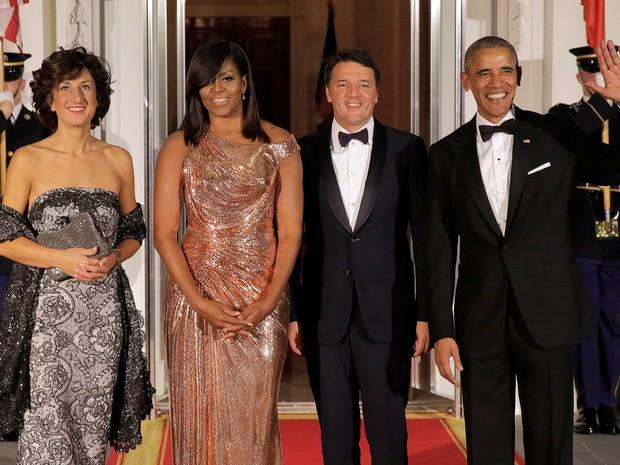 Agnese Landini, Michelle Obama, Matteo Renzi e Barack Obama em evento na Casa Branca, em Washington, nos Estados Unidos (Foto: Joshua Roberts/ Reuters)