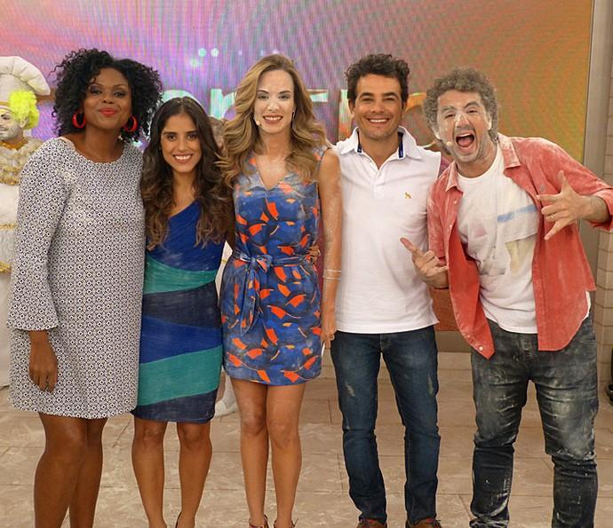 Cristina, Camilla, Ana, Anderson e Andreoli nos bastidores  (Foto: Cristina Cople/Gshow)