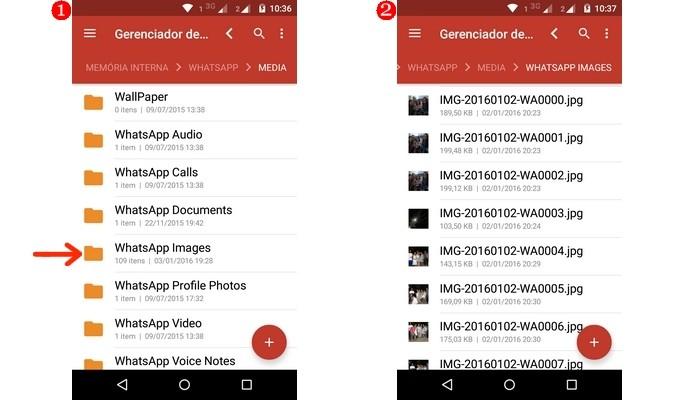 Pasta com fotos do WhatsApp destacada à esquerda. À direita, lista de imagens incluindo deletadas (Foto: Reprodução/Raquel Freire)